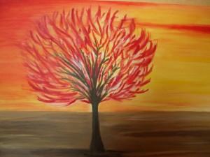 Albero di fuoco, Acrylic on canvas, 2008